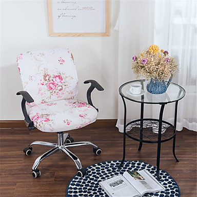 cheap Slipcovers-Pink Floral Print Computer Office Chair Cover Split Protective Stretchable Cloth Polyester Universal Desk Task Chair Chair Covers Stretch Thicken Rotating Chair Slipcover