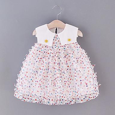 halpa Vauvojen vaatteet-Vauva Tyttöjen Perus Polka Dot Silmukka Hihaton Reisipituinen Mekko Punastuvan vaaleanpunainen