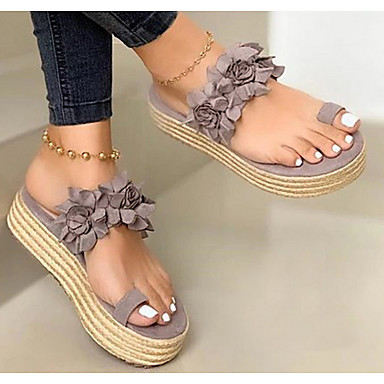 cheap Women's Sandals-Women's Sandals Flat Sandals Bunion Sandals Wedge Heel Open Toe Casual Sweet Daily Solid Colored Canvas Walking Shoes Summer Black / Red / Green