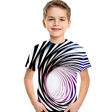 cheap Boys' Tops-Kids Toddler Boys' Active Basic Blue & White Rubik's Cube Striped Geometric 3D Print Short Sleeve Tee Rainbow