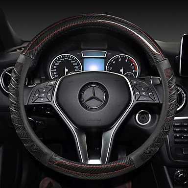 cheap Steering Wheel Covers-fashion Car Steering Wheel Covers Leather 38cm Breathable Anti Slip For benz Four Seasons Auto Accessories