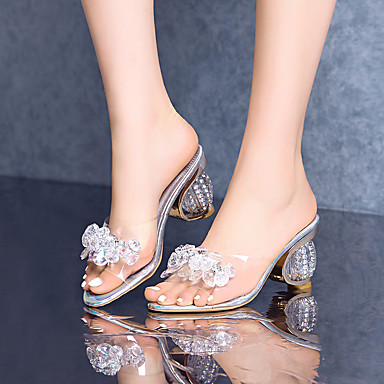 cheap Women's Sandals-Women's Sandals 2020 Crystal Heel Open Toe Rhinestone PVC Casual Summer Silver