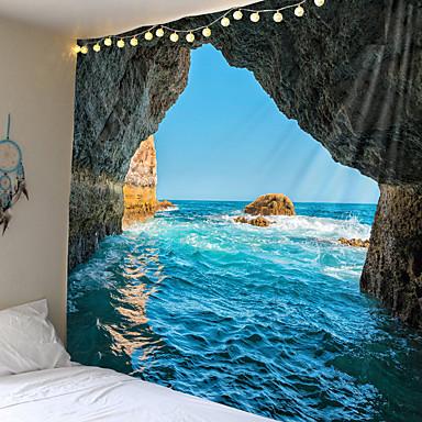 billige Veggkunst-blå sjølandskap billedvev indisk mandala tapestry vegg hengende veggtepper boho soverom vegg teppe sofa teppe 6 størrelse