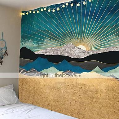 abordables Décoration Murale-coucher de soleil montagne indigo tapisserie nature art mur tissu hippie tapisserie psychédélique Tenture murale arbre paysage tapisserie murale tissu