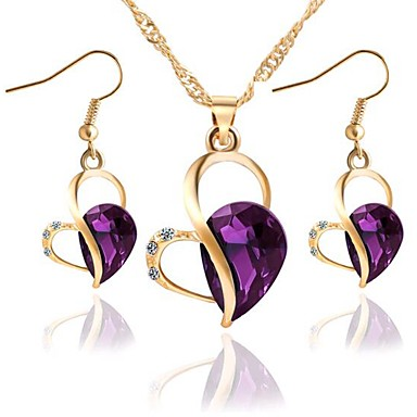 cheap Jewelry Sets-Women's Jewelry Set 3D Heart Stylish Classic Imitation Diamond Earrings Jewelry Blue / Purple / Green For Festival