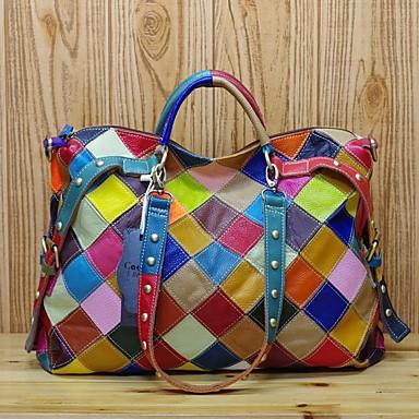 cheap Handbag & Totes-Women's Bags Cowhide Top Handle Bag Zipper for Daily Black / Rainbow