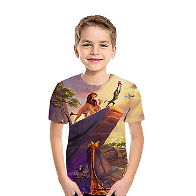 cheap Boys' Tops-Kids Boys' Active Street chic Geometric Color Block 3D Short Sleeve Tee Rainbow