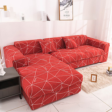 cheap Slipcovers-Colorful Red Geometric 1/2/3/4 seater Sofa cover Tight wrap all-inclusive sectional elastic seat couch covers Slipcovers Christmas