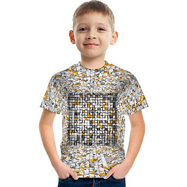 cheap Kids Collection Under $8.99-Kids Boys' Active Street chic Color Block 3D Print Short Sleeve Tee Rainbow