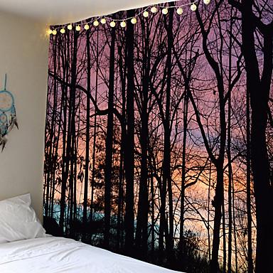 cheap Wall Tapestries-Psychedelische Bos Tapestry Zee Kokospalm Muur Opknoping Strand Wandtapijten 3D Gedrukt Grote Wandtapijten Boho Hippie Home Decor