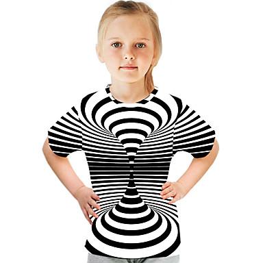 halpa Tyttöjen yläosat-Lapset Tyttöjen Aktiivinen Katutyyli Color Block 3D Painettu Lyhythihainen T-paita Musta