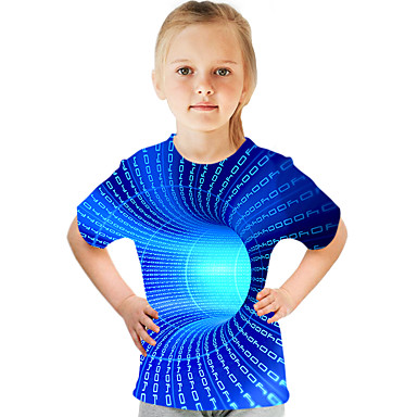 cheap Girls' Clothing-Kids Girls' Basic Street chic Color Block 3D Print Short Sleeve Tee Blue