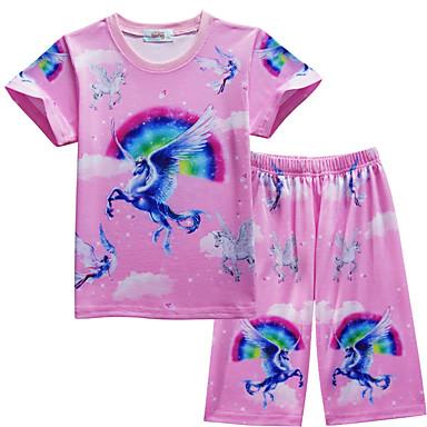 economico Intimo e calzini per ragazze-2 pezzi Bambino Da ragazza Attivo Essenziale Unicorn Cielo stellato Arcobaleno Fantasia Colorata Pigiami Rosa
