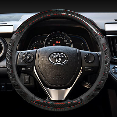 cheap Steering Wheel Covers-fashion Car Steering Wheel Covers Leather 38cm Breathable Anti Slip For Toyota Four Seasons Auto Accessories