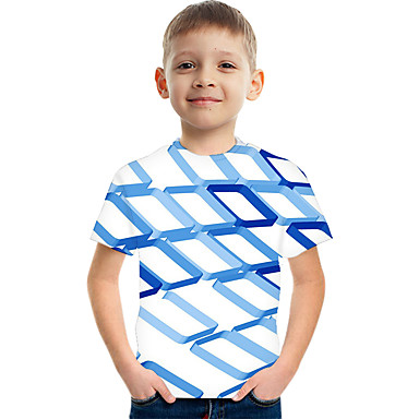 cheap Kids Collection Under $8.99-Kids Boys' Active Street chic Color Block 3D Print Short Sleeve Tee White