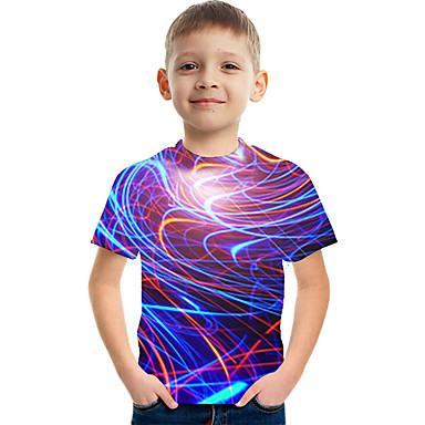 cheap Baby & Kids-Kids Boys' Active Street chic Color Block 3D Print Short Sleeve Tee Purple