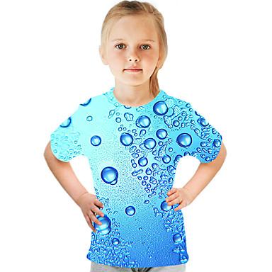 voordelige Meisjestops-Kinderen Meisjes Actief Street chic Kleurenblok 3D Print Korte mouw T-shirt blauw