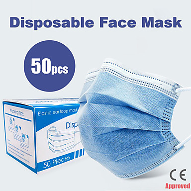 cheap Personal Protection-50 pcs Face Mask Breathable Disposable Protective 3 Layers In Stock Nonwoven Fabric Nonwoven CE  Certification Waterproof Carrying High Quality Blue