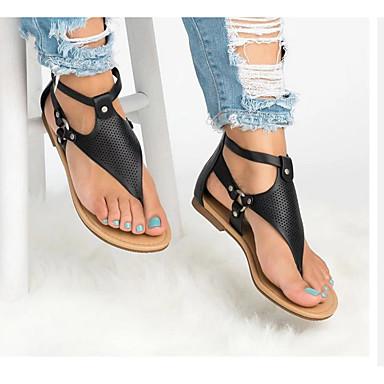 cheap Women's Sandals-Women's Sandals Flat Sandal 2020 Spring &  Fall / Spring & Summer Flat Heel Open Toe Classic Vintage Outdoor Office & Career PVC / PU White / Black / Coffee