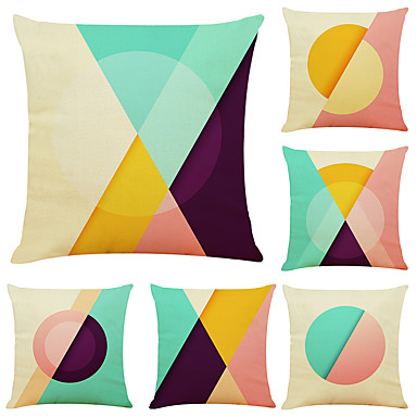 cheap Decorative Pillows-Set of 6 Simple Geometry Linen Square Decorative Throw Pillow Cases Sofa Cushion Covers 18x18