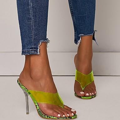 ราคาถูก รองเท้าผู้หญิง-สำหรับผู้หญิง รองเท้าแตะและรองเท้าแตะ ส้น Stiletto เปิดนิ้ว PU ฤดูร้อน สีเขียว / ผ้าขนสัตว์สีธรรมชาติ