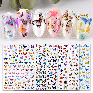 cheap Nail Stickers-6 Sheet New Nail Art Self-adhesive Nail Sticker Tip Decal Decoration Cartoon Cute Butterfly Design DIY Manicure Accessories Tool