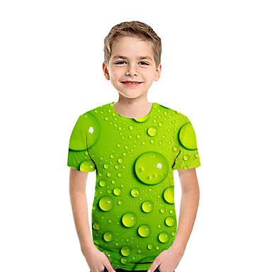 Недорогие Детская коллекцияМенее $8.99-Дети Мальчики Активный Уличный стиль Геометрический принт Контрастных цветов 3D С короткими рукавами Футболка Зеленый