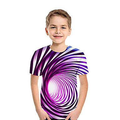 cheap Boys' Tops-Kids Boys' Active Street chic Geometric 3D Patchwork Pleated Print Short Sleeve Tee Black