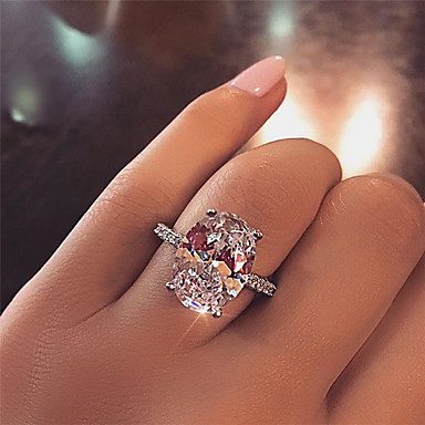 cheap Fine Jewelry-12 carat Synthetic Diamond Ring Silver For Women's Oval cut Ladies Luxury Elegant Bridal Wedding Party Evening Formal High Quality Big