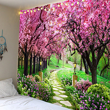 cheap Landscape Tapestries-Wall Tapestry Art Decor Blanket Curtain Picnic Tablecloth Hanging Home Bedroom Living Room Dorm Decoration Nature Landscape Garden Tree Flower Blossom Pathway