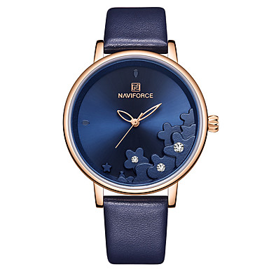 cheap Diamond Watches-NAVIFORCE Ladies Quartz Watches Casual Fashion Blue Red Brown PU Leather Japanese Quartz Rose Gold Red Blue Water Resistant / Waterproof New Design Casual Watch 30 m 1 pc Analog Two Years Battery Life