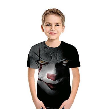 billige BarnekolleksjonUnder $8.99-Børn Drenge Aktiv Gade Geometrisk Farveblok 3D Kortærmet T-shirt Sort