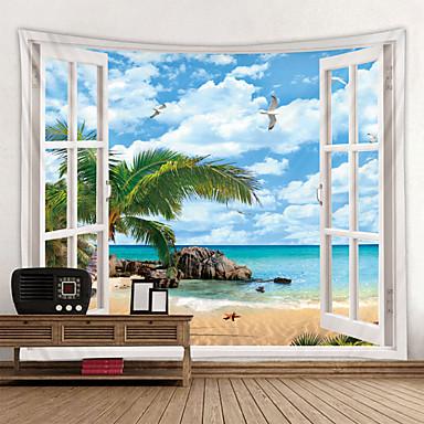 abordables Décoration Murale-plage à l'extérieur de la fenêtre tapisserie imprimée pas cher hippie tenture murale bohème tapisseries murales mandala mur art déco