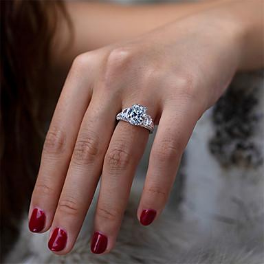 tanie Wyjątkowa biżuteria-4 karaty Syntetyczny diament Pierścień Srebrny Na Damskie Cięcie gruszki damska Luksusowy Elegancja Ślubny Ślub Impreza / Wieczór Formalny Wysoka jakość Wybrukować