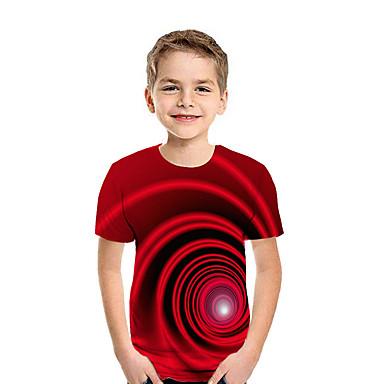 billige BarnekolleksjonUnder $8.99-Børn Drenge Aktiv Gade Geometrisk 3D Patchwork Trykt mønster Kortærmet T-shirt Regnbue