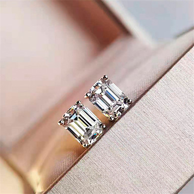 cheap Fine Jewelry-3 carat Synthetic Diamond Earrings Silver For Women's Princess cut Ladies Luxury Elegant Bridal Wedding Party Evening Formal High Quality Classic 2pcs