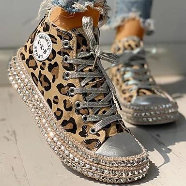 cheap Women's Sneakers-Women's Sneakers Flat Heel Round Toe Casual Vintage Daily Office & Career Rivet Leopard Canvas Walking Shoes Summer Leopard / Black