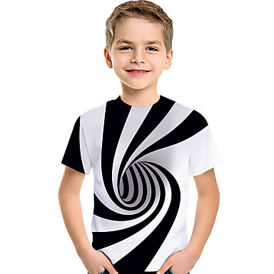 cheap Baby & Kids-Kids Toddler Boys' Active Basic Black & White Color Block Geometric 3D Print Short Sleeve Tee White