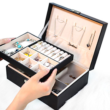 cheap Storage & Organization-Lady PU Leather Jewelry Box Storage Box Earrings Bracelet Necklace Ring Display Case Double layer Portable Jewelry Organizer 23X17X9CM