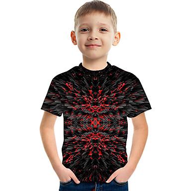 hesapli Kids CollectionUnder $8.99-Çocuklar Genç Erkek Actif Sokak Şıklığı Zıt Renkli 3D Desen Kısa Kollu Tişört Siyah
