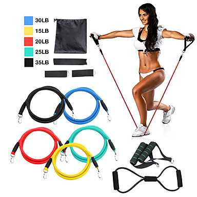 Resistance Band Set 12 pcs 5 Stackable Exercise Bands Door Anchor Legs Ankle Straps Sports TPE Home Workout Pilates Fitness Strength Training Muscular Bodyweight Training Muscle Building For Home