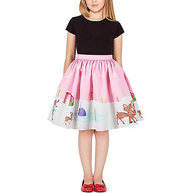 cheap Girls' Skirts-Kids Girls' Active Basic Floral Print Rainbow Print Skirt Blushing Pink