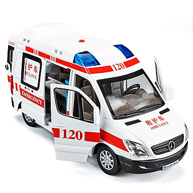 cheap Diecasts & Toy Vehicles-1:32 Toy Car Model Car Ambulance Vehicle Music & Light Pull Back Vehicles Metal Alloy Mini Car Vehicles Toys for Party Favor or Kids Birthday Gift 1 pcs