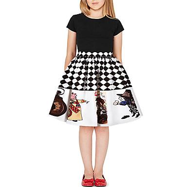 voordelige Meisjesrokken-Kinderen Meisjes Actief Standaard Print Kleurenblok Print Rok Zwart