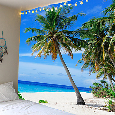 cheap Wall Art-Sell like hot cakes with the sea coconut trees tapestry or background cloth or decorative cloth, polyester fiber material