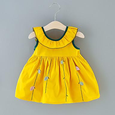 cheap Baby & Toddler Girl-Baby Girls' Basic Floral Bow Sleeveless Above Knee Dress Purple