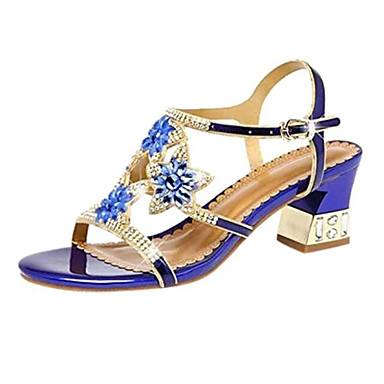 cheap Women's Sandals-Women's Sandals Plus Size Flare Heel Open Toe Casual Sweet Daily Party & Evening Rhinestone Floral PU Summer Purple / Blue / Gold / EU40
