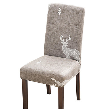 cheap Slipcovers-Brown Check Print Super Soft Chair Cover Stretch Removable Washable Dining Room Chair Protector Slipcovers Home Decor Dining Room Seat Cover