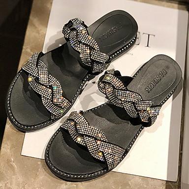 ราคาถูก รองเท้าผู้หญิง-สำหรับผู้หญิง รองเท้าแตะและรองเท้าแตะ ส้นแบน ปลายกลม PU ฤดูร้อนฤดูใบไม้ผลิ สีดำ