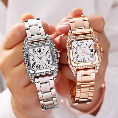 cheap Square & Rectangular Watches-Ladies Quartz Watches Quartz Formal Style Stylish Elegant Imitation Diamond Cubic Zirconia Black / Silver / Rose Gold Analog - Rose Gold Gold Silver One Year Battery Life
